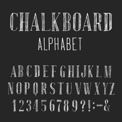 Canvastavlor Svarta tavlan alfabet vektor Font