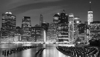 Canvastavlor Svartvitt foto av Manhattan vattnet, NYC, USA.