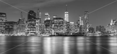 Canvastavlor Svartvitt New York panorama på natten, USA.
