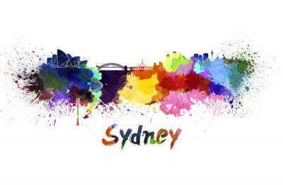 Canvastavlor Sydney skyline i vattenfärg