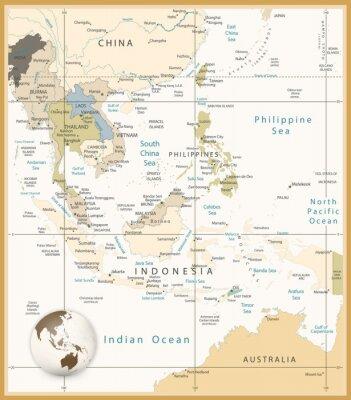 Canvastavlor Sydostasien Detaljerad Karta Retro färger