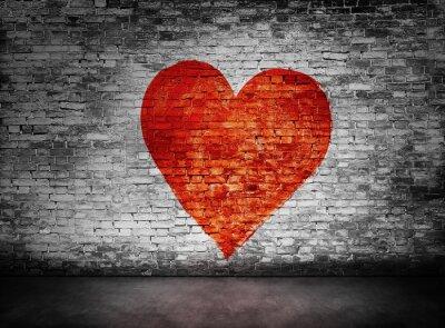 Canvastavlor Symbol för kärlek målade på skumma tegelvägg