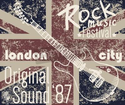 Canvastavlor T-shirt Utskriftsdesign, typografi grafik, London Rock festival vektor illustration med grunge flagga och handtecknad skiss gitarr Badge Applique Etikett.