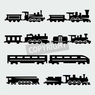 Canvastavlor tåg silhuetter inställd