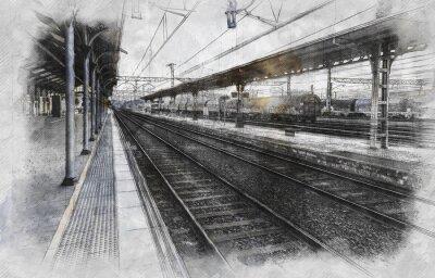 Canvastavlor Tågstation