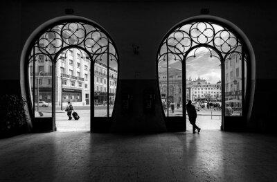 Canvastavlor Tågstation Rossio. Gamla stan i Lissabon. Portugal.