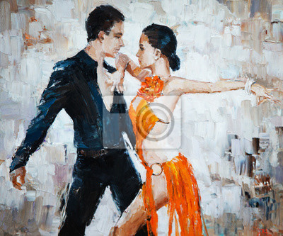 Canvastavlor tango dansare digital målning, tango dansare
