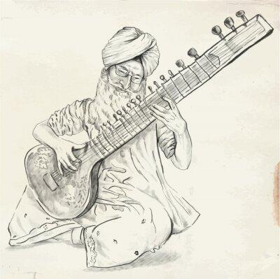 Canvastavlor Tanpura spelare - vektor illustration (omräknat)