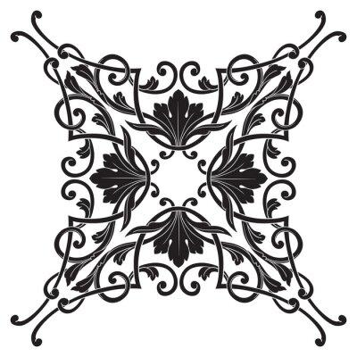 Canvastavlor Tappning barock ram gravyr rullnings ornament