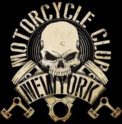 Canvastavlor Tappning cyklist skalle Emblem Tee Grafisk