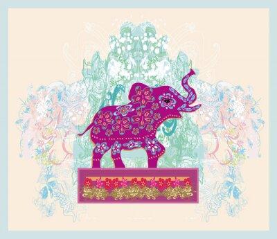 Canvastavlor Tappning indisk prydnad med en elefant