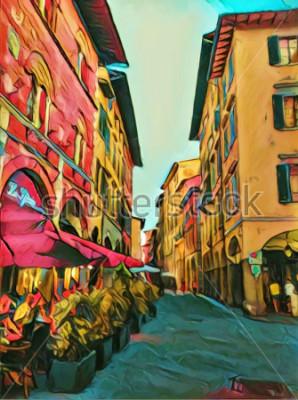Canvastavlor Tappning italiensk liten gata i Florens. Traditionell gammal arkitektur i Italien. Stor storlek oljemålning konst. Modernt impressionism ritat konstverk. Kreativt konstnärligt tryck för duk, affisch e