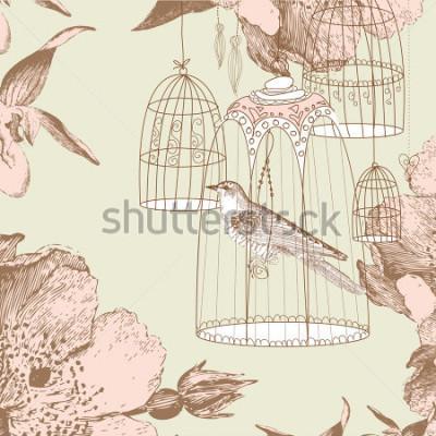 Canvastavlor tappning kort med en fågel i buret