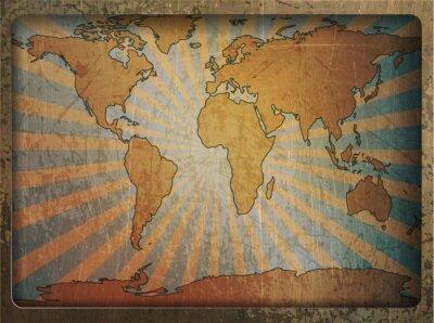 Canvastavlor Tappning kort världskarta