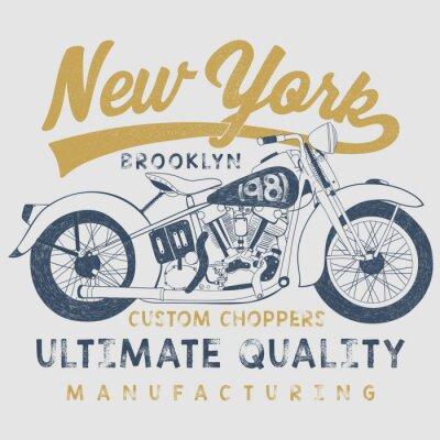 Canvastavlor tappning motorcykel skiss illustration med typografi