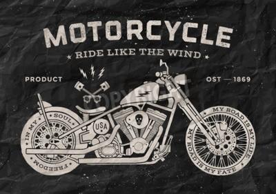 Canvastavlor Tappning race motorcykel old school stil. Svart och vit affisch, tryck för t-shirt. Vektor illustration.