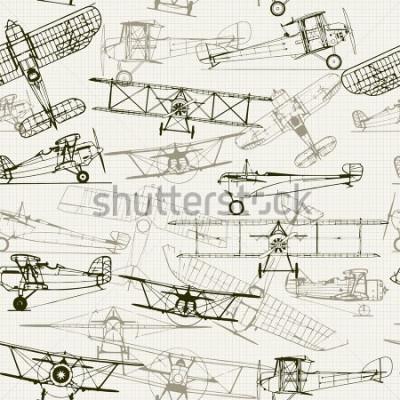 Canvastavlor Tappning sömlös bakgrund. Stiliserad flygplanillustrationskomposition. Textur av grafpapper kan stängas av. Kan skriva för tapeter, mönster fyllningar, webbsidor bakgrund, yta texturer.