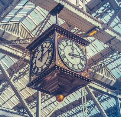 Canvastavlor Tappning Station Clock