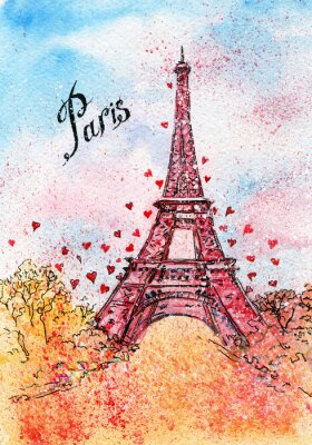 Canvastavlor tappningvykort. akvarellillustration. Paris, Frankrike, Eiffeltornet