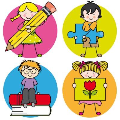 Canvastavlor Tarjeta aprender en pintar, escribir, Leer, jugar