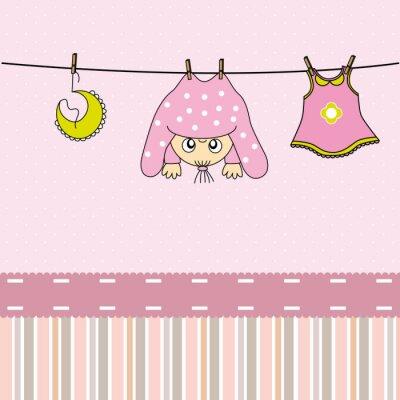 Canvastavlor Tarjeta nacimiento bebe niña
