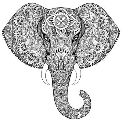 Canvastavlor Tatuering elefant med mönster och ornament