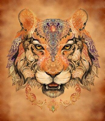 Canvastavlor Tatuering, grafik huvudet av en tiger