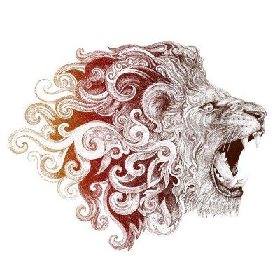 Canvastavlor Tatuering huvud grin lion