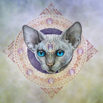 Canvastavlor Tatuering, huvudet katter i cirkeln