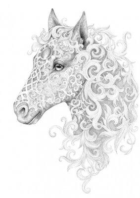 Canvastavlor Tatuering, vacker hästhuvud med en röd