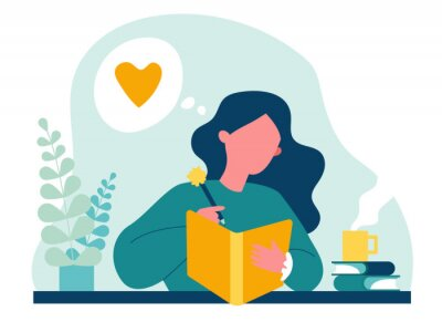 Canvastavlor Teenage girl writing diary or journal. Happy young woman reading book and taking notes with pencil. Vector illustration for journal, author, student, teenager in love concept