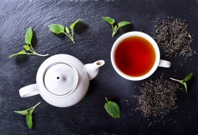 Canvastavlor Tekanna och kopp te med mynta