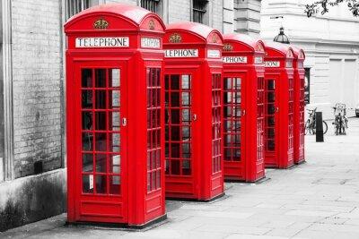 Canvastavlor Telefonzellen i London im Färgnyckel Verfahren