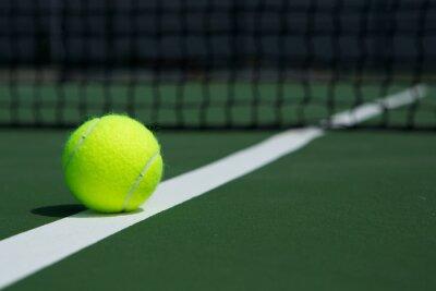 Canvastavlor Tennis boll med Net i bakgrunden