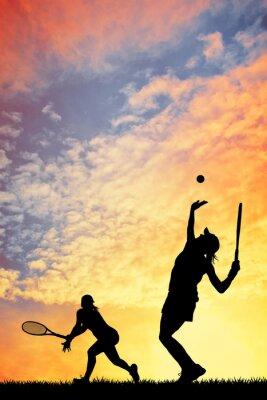 Canvastavlor Tennis på solnedgången