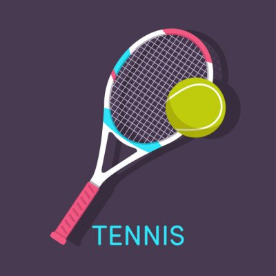 Canvastavlor Tennis, racket, boll brun bakgrund