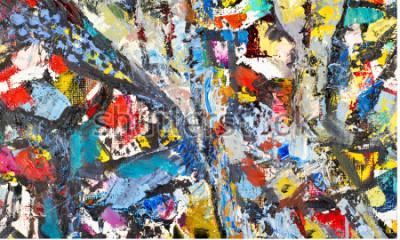 Canvastavlor Texture, bakgrund, mönster. Målning målad av en konstnär. Konst abstrakt bakgrundsstruktur, akrylfärg på duk. Silhuetter av karnikkor, orientaliska teman,