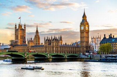Canvastavlor The Palace of Westminster i London på kvällen - England
