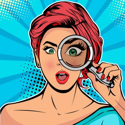 Canvastavlor The woman is a detective looking through magnifying glass search. Vector illustration in pop art retro comics style