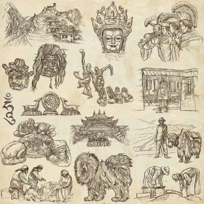Canvastavlor Tibet. Travel - Bilder från Life. Hand ritningar.