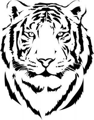 Canvastavlor tiger huvud i svart tolkning 2