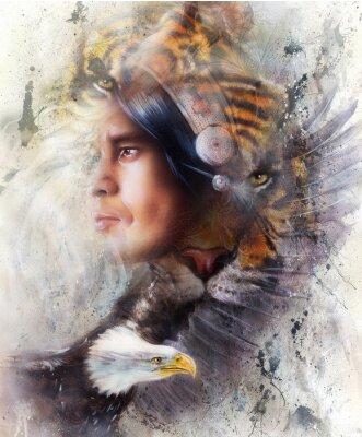 Canvastavlor tiger med örn och indiska krigare och huvudbonad illustration. vilda djur på målning bakgrund, ögonkontakt, vit, svart och brun färg