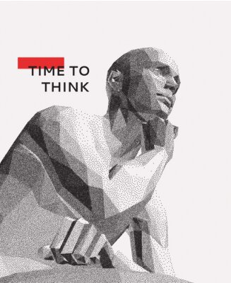 Canvastavlor Time to think. A man with his hand on his chin as though he was thinking. Artificial intelligence concept. Searching for answers. Your personal assistent. 3D vector illustration.