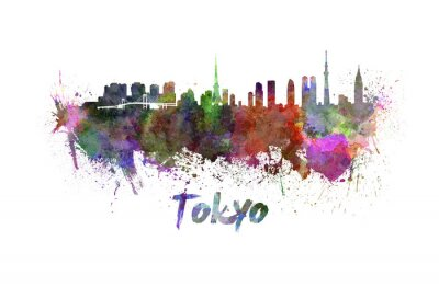 Canvastavlor Tokyo horisont i vattenfärg