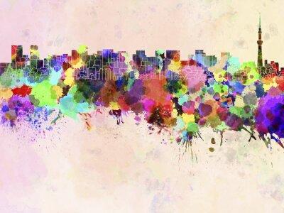 Canvastavlor Tokyo horisont i vattenfärg bakgrund