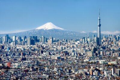 Canvastavlor Tokyo horisont med Mount Fuji och Skytree