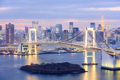 Canvastavlor Tokyo horisont med Tokyo Tower och regnbåge överbrygga