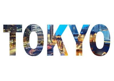Canvastavlor Tokyo stad namnskylt med foto i bakgrunden. Isolerad på vit bakgrund ..