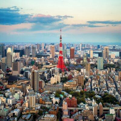 Canvastavlor Tokyo utsikt över staden syns på horisonten