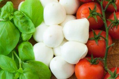 Canvastavlor tomat mozzarella och basilika bakgrund